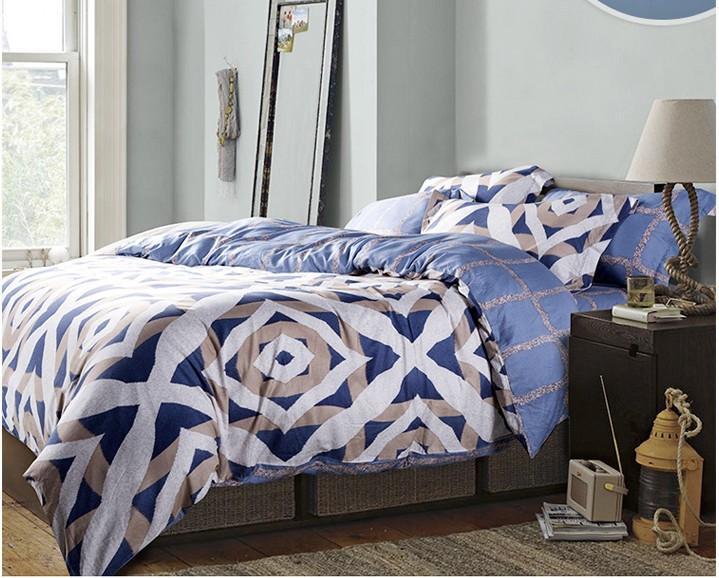 acheter luxe bleu geometrique ensemble de literie king size reine couette doona housse de couette concepteur lit dans un sac feuilles couvre lits drap de
