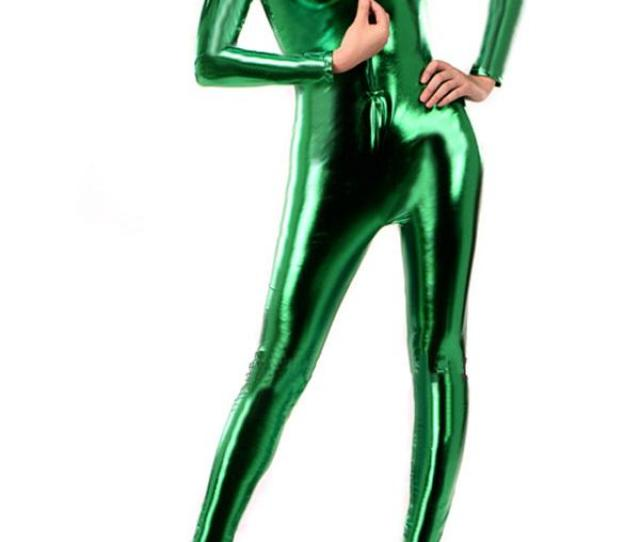2019 Sexy Green Front Zipper Zentai Catsuit Shiny Metallic Lycra Bodysuit With High Neck From Houseliya 25 39 Dhgate Com