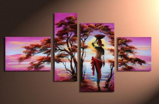 Hand Painted Hi Q Modern Home Abstract Landscape Oil Painting On Canvas African Girl Trees 4pcs Set Framed