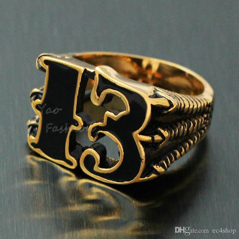 Mens Vintage 18K Gold Plated Black Friday Number 13