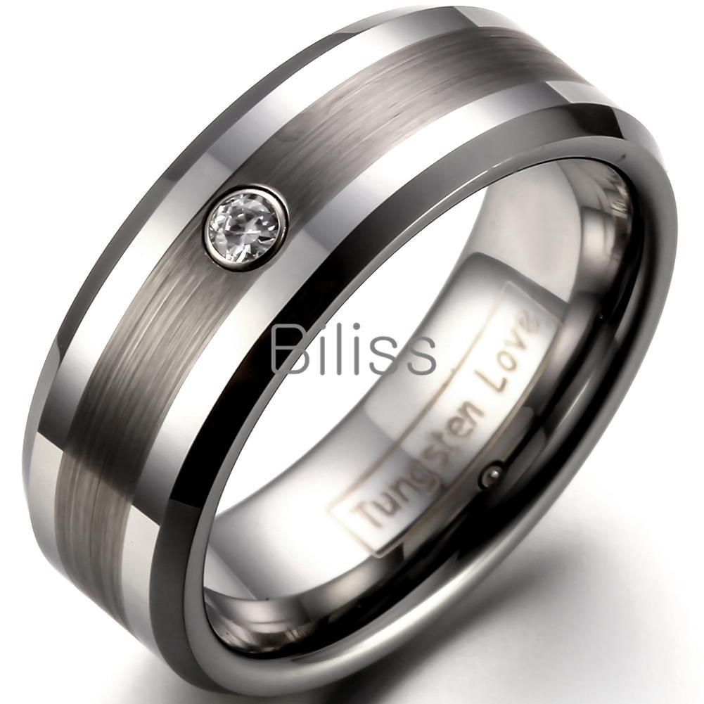 8mm comfort fit tungsten carbide ring for men wedding bands ring engagement ring men with one stone anel zirconia bridal sets emerald engagement rings from
