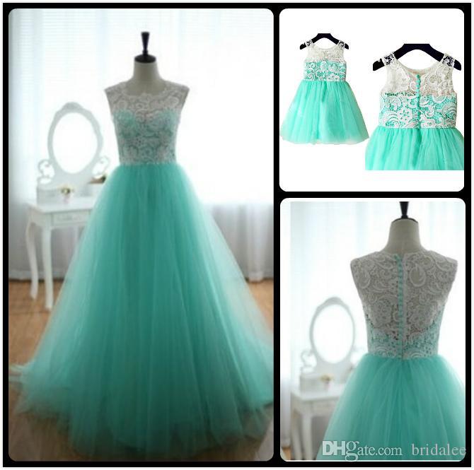 Turquoise Aqua Blue Tulle Ivory Lace Flower Girl Dress