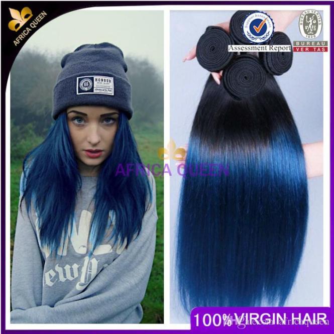Blue extensions in black hair the best black hair 2017 black to blue dip dye human hair extensions cs027 vpfashion pmusecretfo Image collections