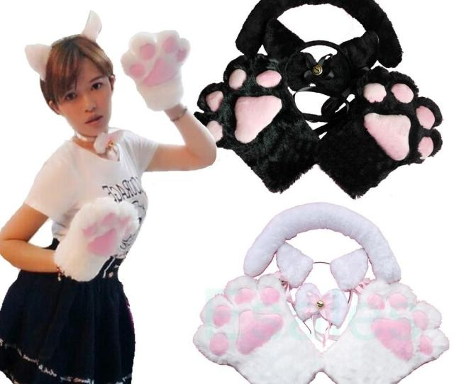 Wholesale Hot Sale Cartoon Gloves Cute Ear Wearing Sexy Flutty Cat Maid Cosplay Neko Anime Costume Plush Gloves Ear Tail Party From Zhijin