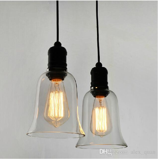 Modern Crystal Bell Glass Pendant Lights Industrial Style