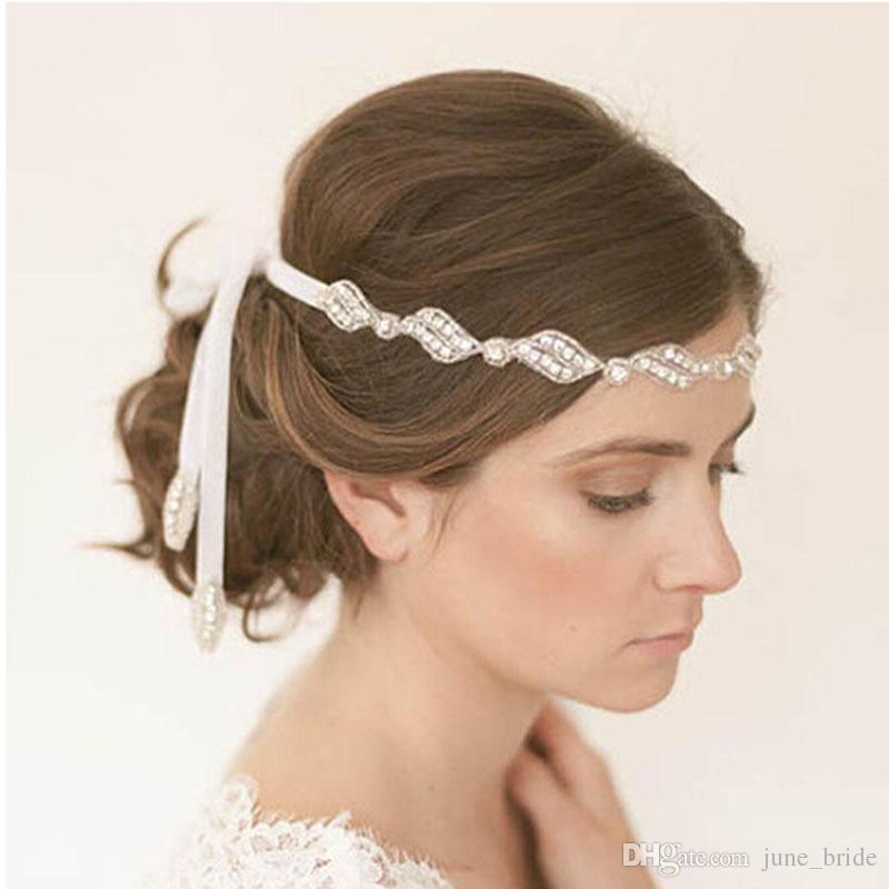elegant sparking rhinestone bridal headbands crystal ribbon tie back prom party handmade hair accessory real photos