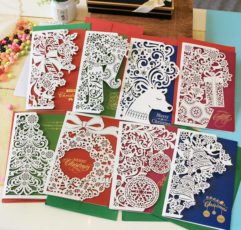 Paper Cut Christmas Cards Greeting Three Fold Business