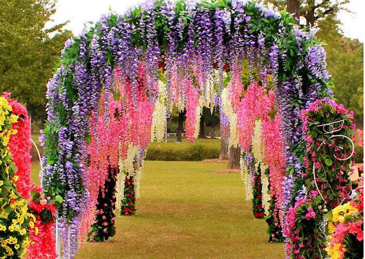 Flowers Simulation Wisteria Vine Wedding Decorations Long ... on Vine Decor Ideas  id=22150