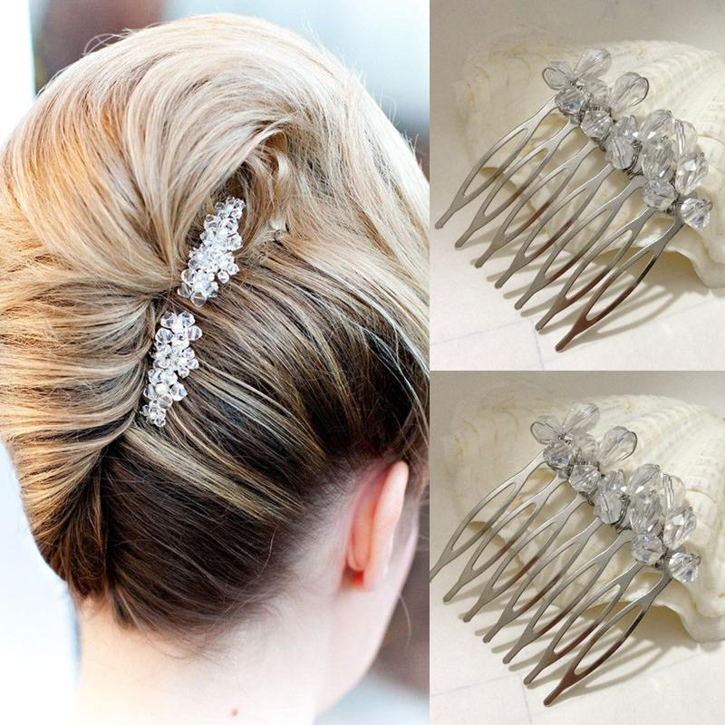 bridal hair combs small simple elegant two peices cystal glass beads side wedding comb accessories bridesmaid prom headpieces