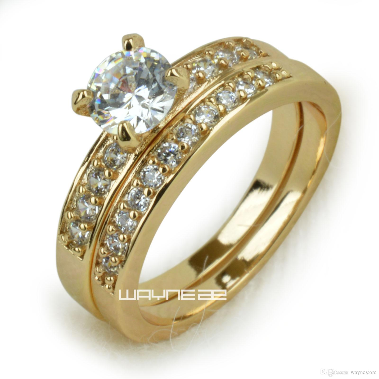18k Gold Fileed Womens Engagement Wedding Ring Set Lab