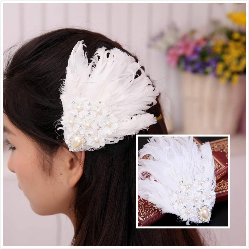 2015 vintage feather wedding hair clips lace crystal bridal barrettes handmade wedding prom party hair accessories with faux pearls cheap
