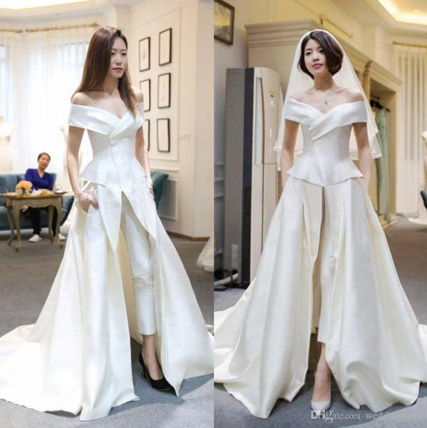 Discount Hot Sale Two Pieces Jumpsuits Wedding Dresses A Line Off     Discount Hot Sale Two Pieces Jumpsuits Wedding Dresses A Line Off The  Shoulder With Pants Bridal Gowns Sweep Train Satin Overskirt Vestido De  Novia Lace