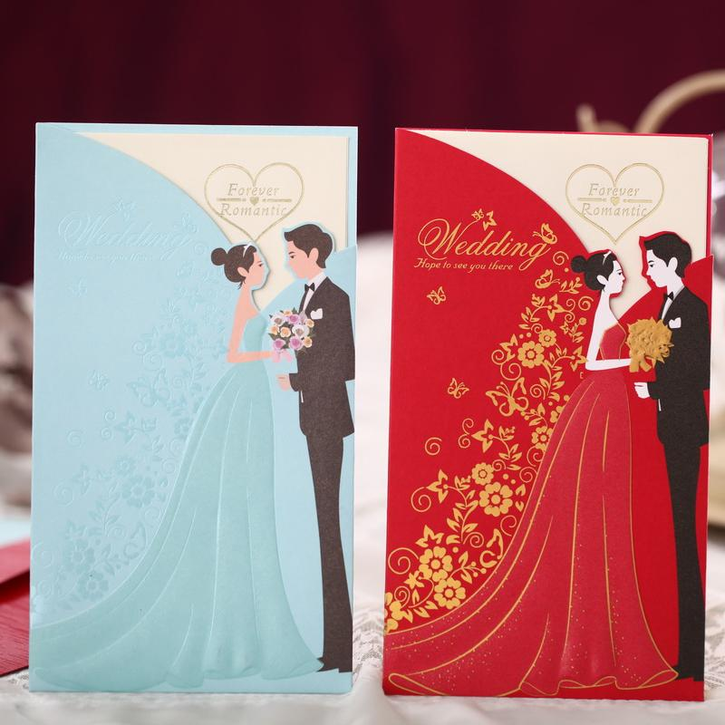 Gold Stamp Wedding Invitations Cards Blue Red With