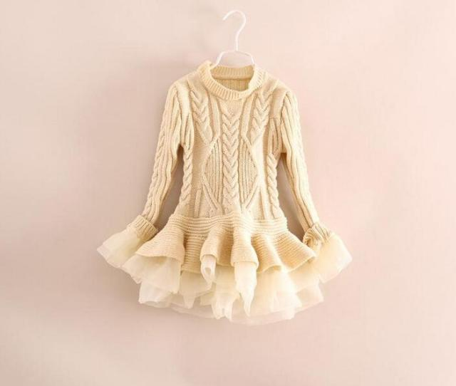 Wholesale Kids Girls Knit Sweater Dresses Baby Girl Tulle Lace Tutu Autumn Winter Princess Jumper Pullover Dress From Choicegoods Dhgate
