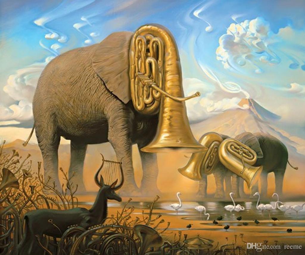 Salvador Dali S Oil Painting For Bar Elephants