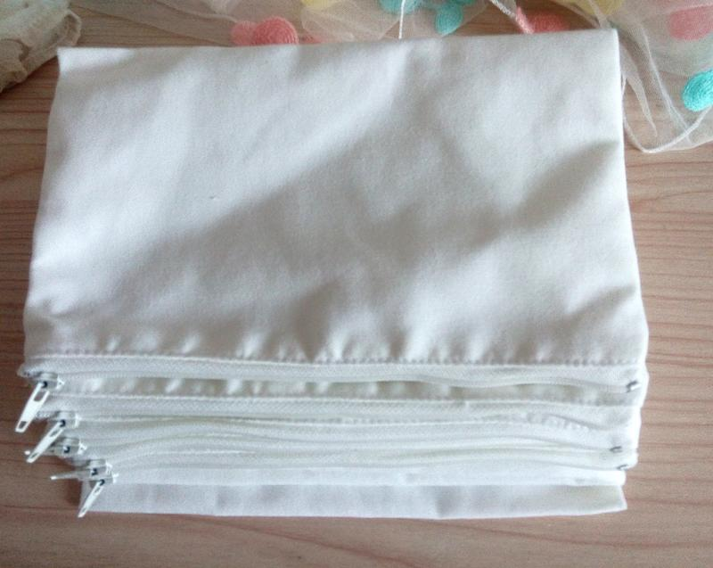 2018 Eco White Canvas Cosmetic Bags Diy Women Blank Plain