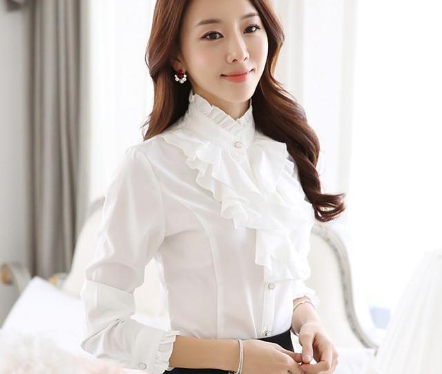 Ruffle Blouse Women  New Fashion Stand Collar Ruffle Cuff Long Sleeve White Tops Elegant Ladies Office Work Wear Retro Chiffon Shirts From Icostore