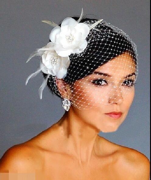 Birdcage Veils White Flowers Feather Birdcage Veil Bridal