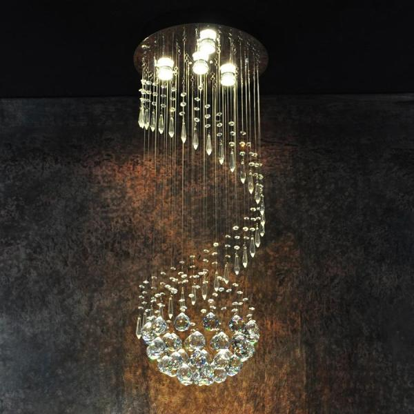 Modern Large Crystal Ceiling Light Fixture For Lobby  Staircase     Modern Large Crystal Ceiling Light Fixture For Lobby  Staircase  Stairs   Foyer Long Spiral Crystal Light Lustre Ceiling Lamp Small Pendant Lights  Metal