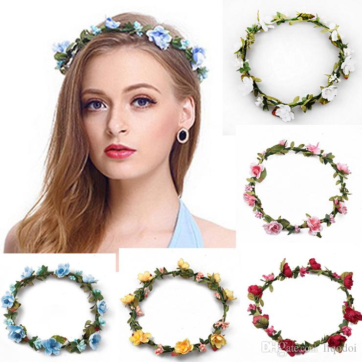 Bohemian Terylene Flower Wreath Garland Crown Festival