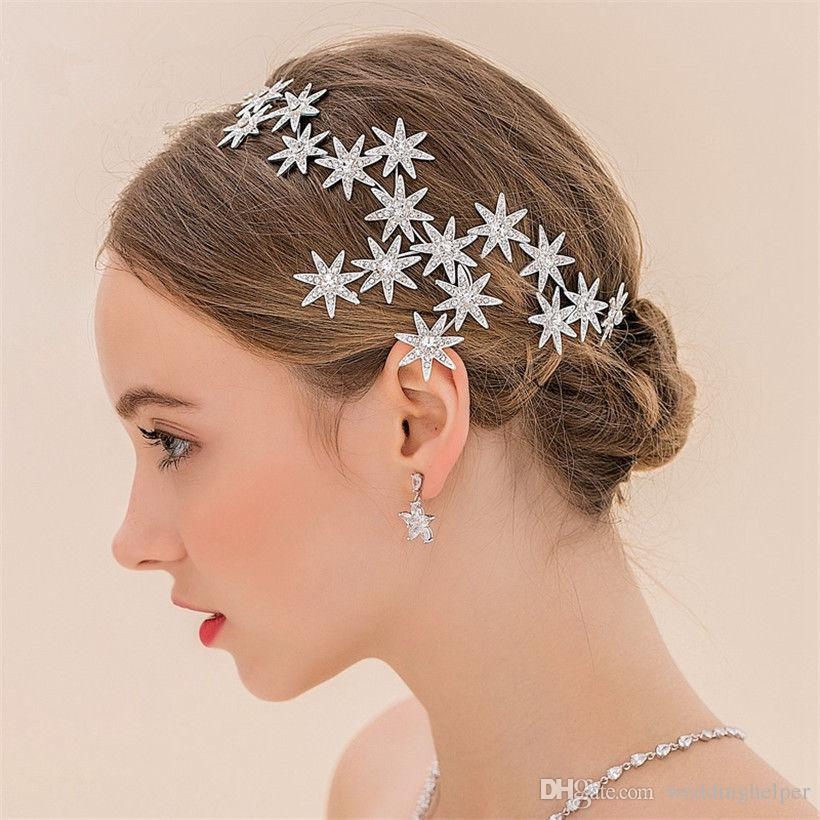 vintage wedding bridal headband hair accessories rhinestone crown star tiara silver princess jewelry headdress crystal fashion fascinators