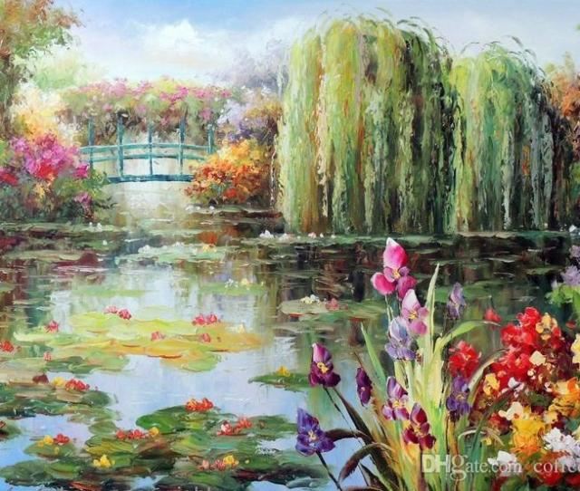 Lily Pond Weeping Willow Trees Purple Iris Flowers Pure Hand Painted Landscape Art Oil Painting In Any Size Customized From Coffee_starbucks
