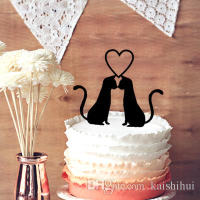 2018 Wedding Cake Toppers  Cute 2 Cats In Love Wedding Cake Topper     2018 Wedding Cake Toppers  Cute 2 Cats In Love Wedding Cake Topper  Wedding  Anniversary Cupcake Funny Cats Silhouette From Kaishihui   13 95    Dhgate Com