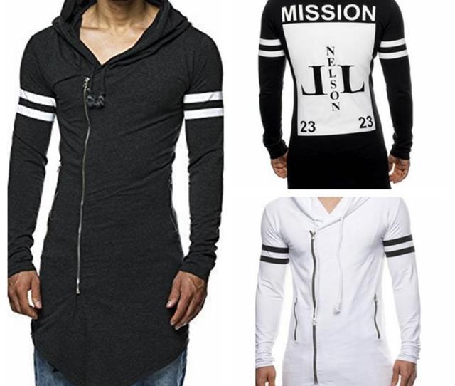 Best Wholesale  Fashion New Man Black Gery White Cloak Hooded Male Printing Streetwear Hip Hop Long Hoodies Clothing Men Outerwear Cool Xl Under