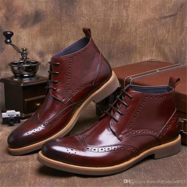 Luxury Wine Red Mens Short Boots Full Grain Leather Shoes ...