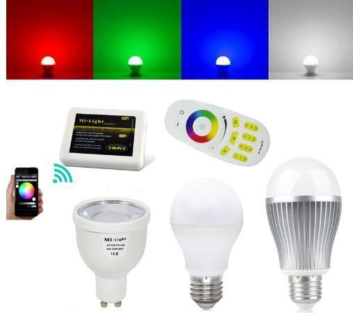 2 4g Mi Light Wifi Smart Led Bulb Rgbw 9w 6w 5w 4w Gu10 E27 E14 Globe Bubble Lamp Wireless Dimmable 4 Zone Controller Wifi Controller Led Lightbulb