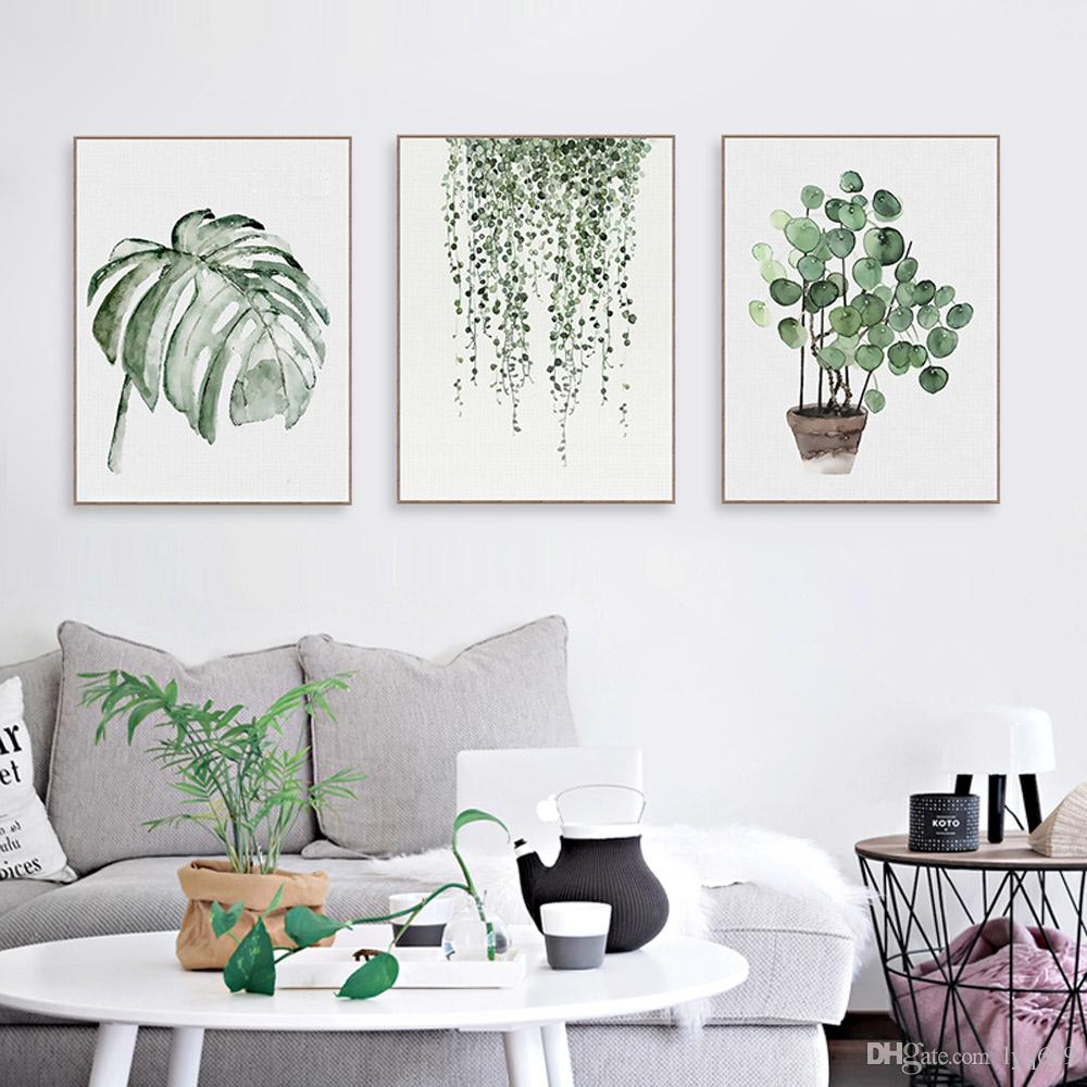 2019 Nordic Minimalist Watercolor Green Plant Leaf Posters ... on Room Decor Posters id=37469