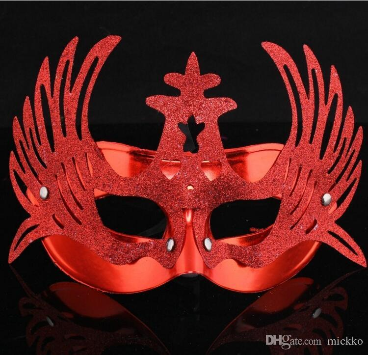 halloween party phoenix crown masks masquerade face masks with powder surface party performance show half face