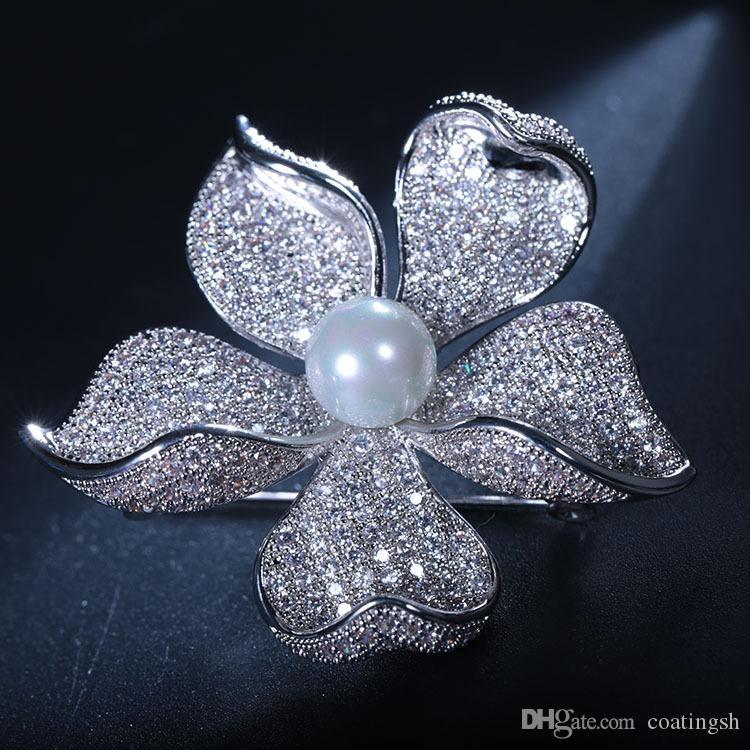 New fashion jewelry five petal white orchid flower pin brooch new fashion jewelry five petal white orchid flower pin brooch wedding pearl centered silver tone pave mightylinksfo