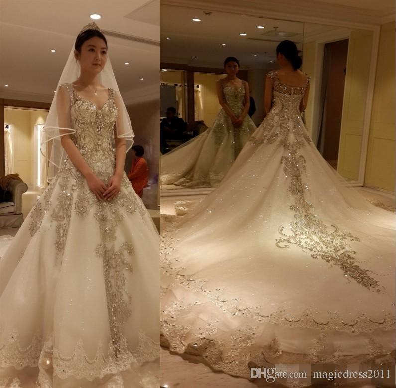 Luxury Cathedral Train Cinderella 2016 Wedding Dresses