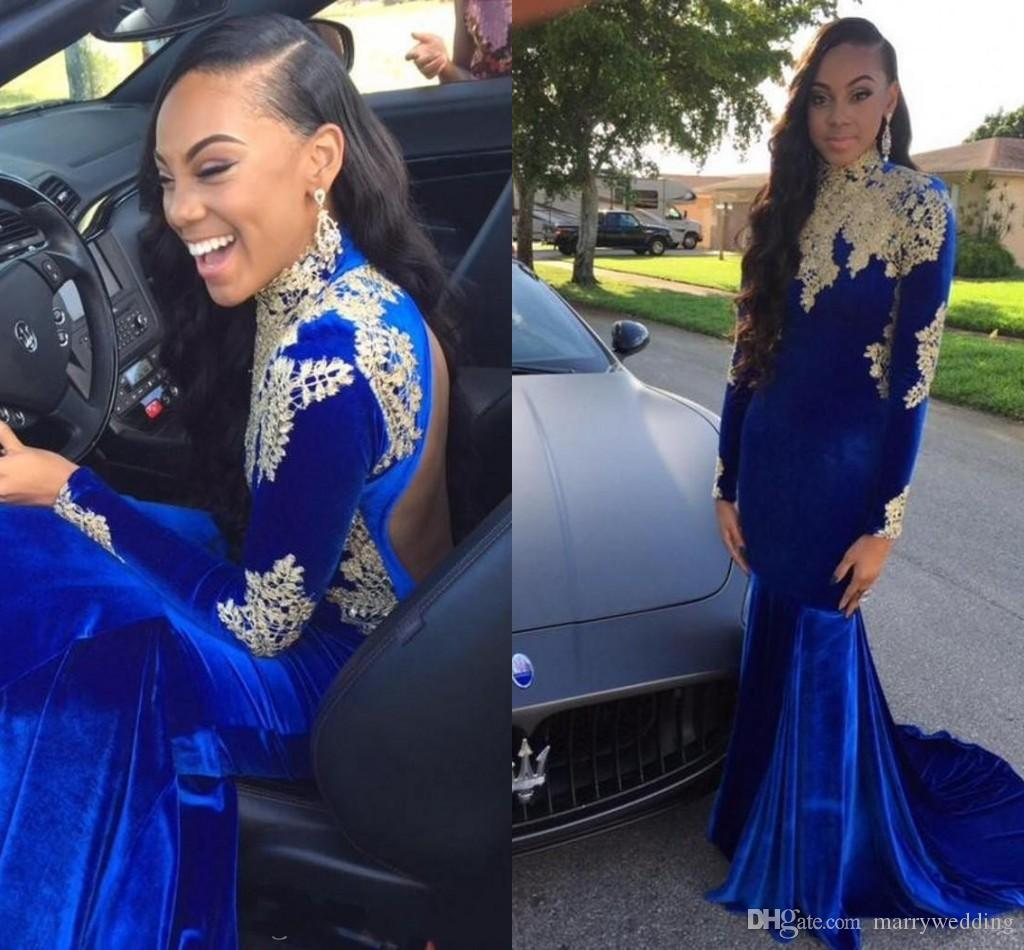 Royal Blue Mermaid African Prom Dresses Gold Lace