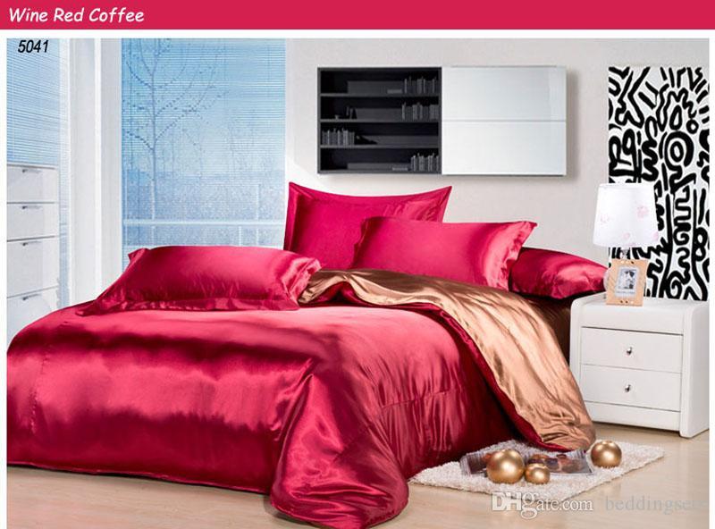 acheter ensemble de literie en soie vin rouge couleur literie ensemble de literie en soie cafe couvre lits en soie drap de lit housse de couette ensemble de