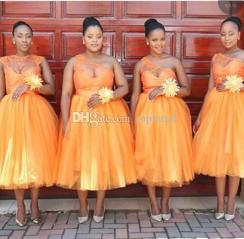 Orange Peach Tea Length Bridesmaid Dresses Illusion One