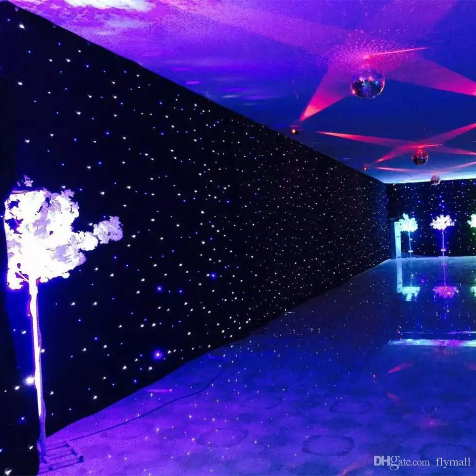 3mx6m Led Wedding Party Curtain Star Cloth Black Stage Backdrop Light Decoration Dmx512 Lighting