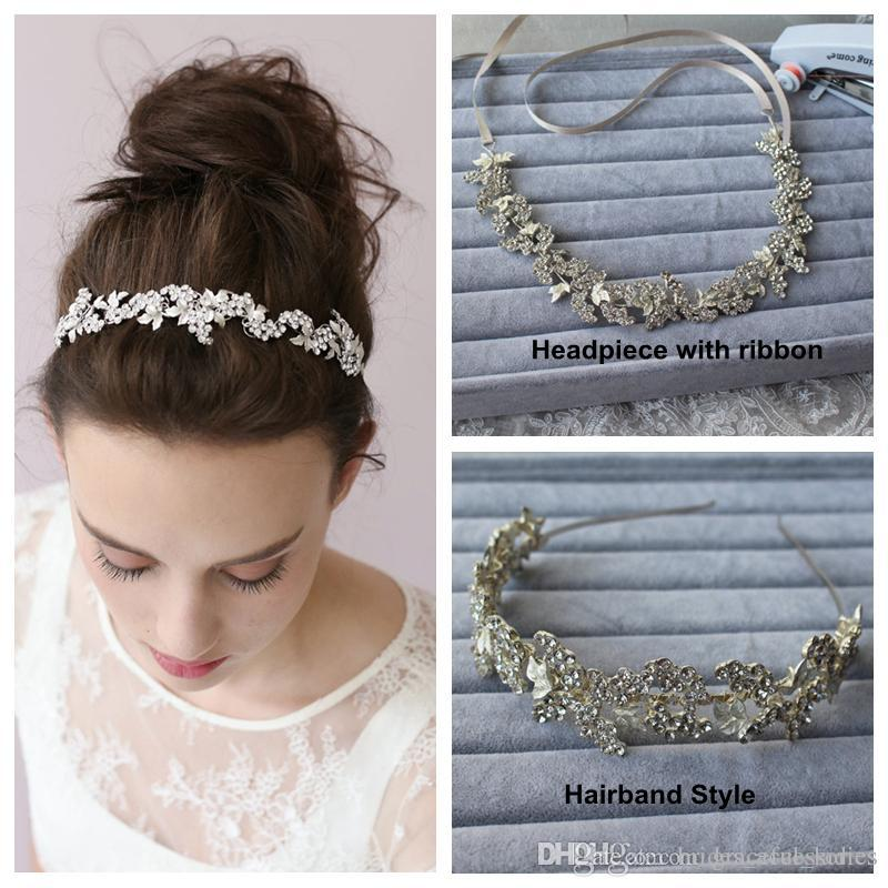 silver hairband tiaras bridal hair accessories wedding headpiece with ribbon hairband two style no fading wholesale wedding head piece new