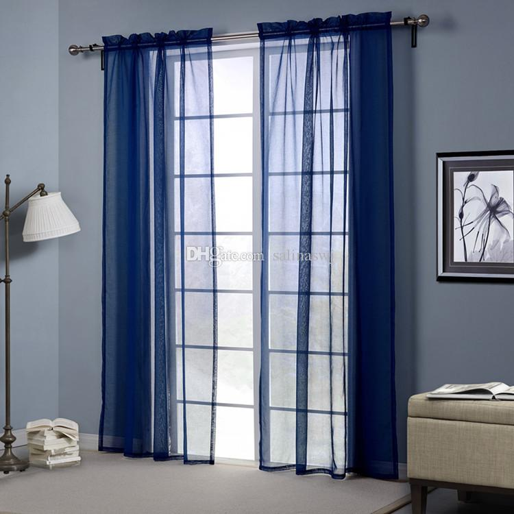 blue color sheer curtains doris cloth