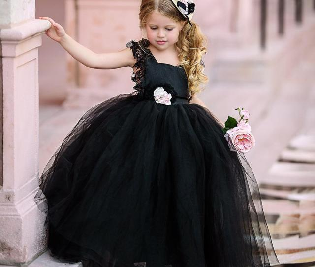 Black Ball Gown Flower Girls Dresses Puffy Tulle Lace Cap Sleeves Open Back  Cheap Girls Pageant Dresses For Gothic Kid Wedding Gowns Girls Formal