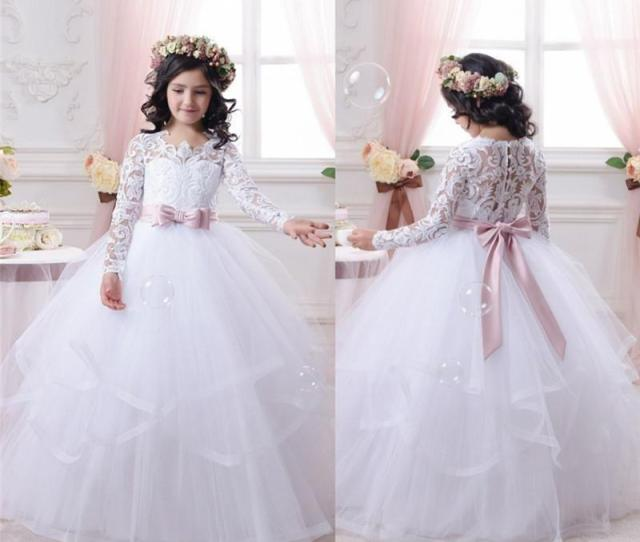 White Flower Girl Dresses For Weddings Long Lace Sleeve Girls Pageant Dresses First Communion Dress Little Girls Ball Gowns Hot Sale Fall Flower Girl