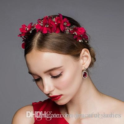 vintage red flower hair accessories wedding hair accessories for brides rose headpiece handmade wholesale brides head piece