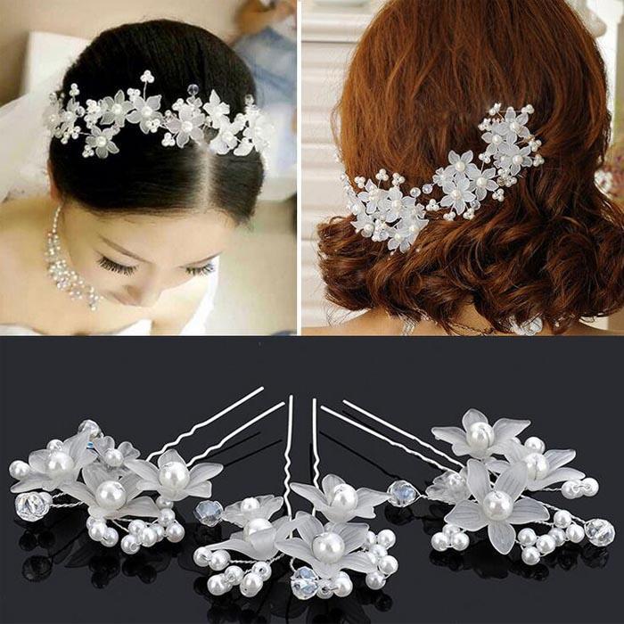 hot wedding hair accessories pearl flower hair barrettes bridal bridesmaid hair clips hairpins white red colors bridal head pieces bride flower from