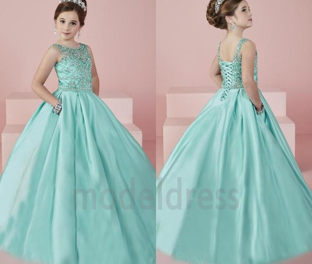 New Shinning Girls Pageant Dresses  Sheer Neck Beaded Crystal Satin Mint Green Flower Girl Gowns Formal Party Dress For Teens Kids Long Flower Girl