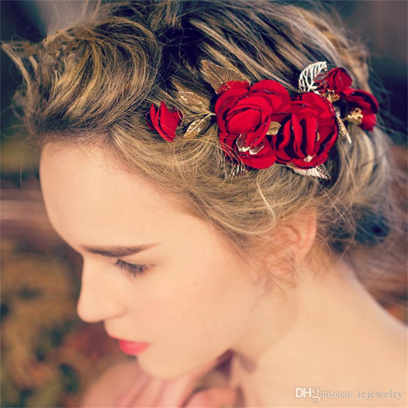 bridal bridesmaid red flower rose hair accessories clips wedding headpiece crystal rhinestone crown tiara gold leaf greek headdress jewelry
