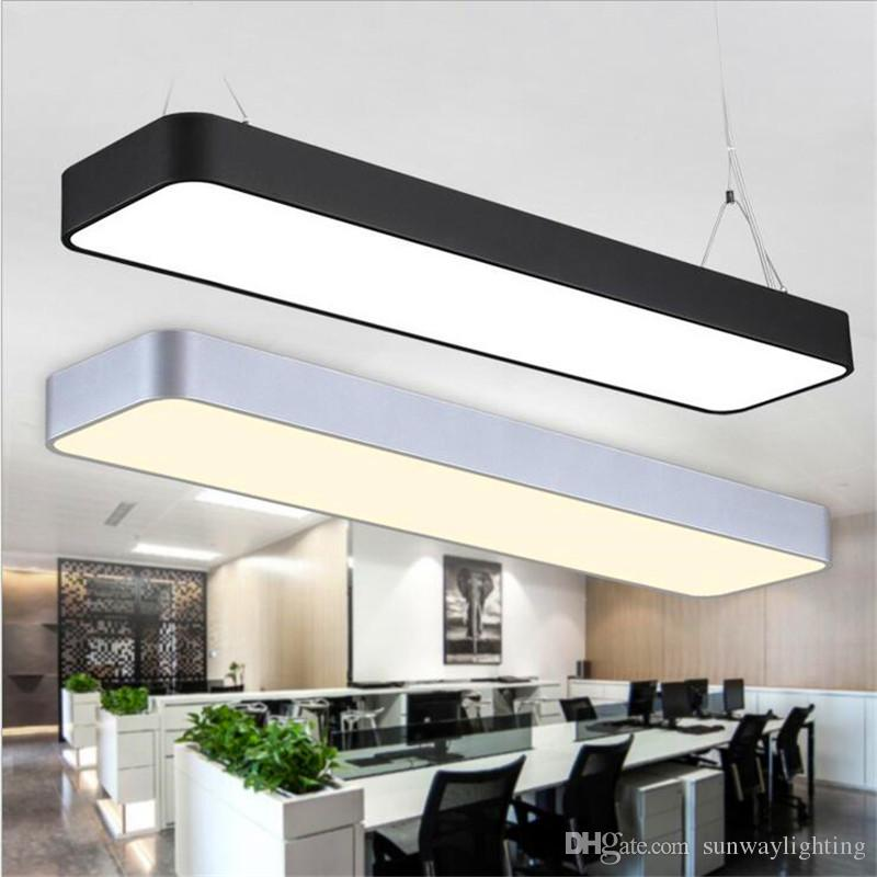 acheter suspendu fil aluminium plafond lampe bureau bar lumieres rectangulaire plafond pendentif lumiere moderne led lustre lampe luminaire pour bureau de