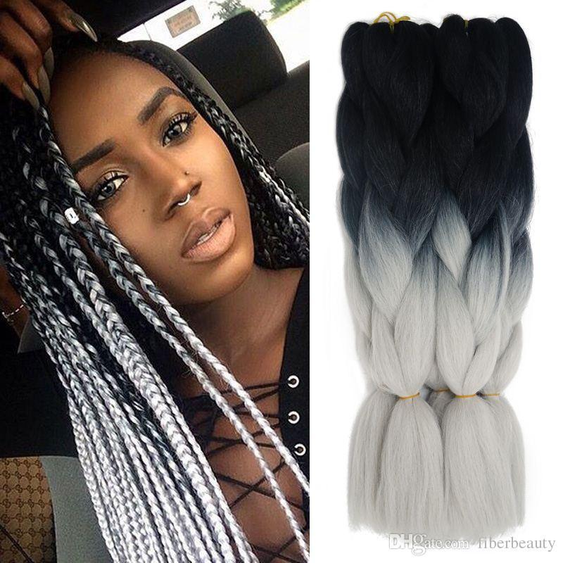 Ombre Xpression Kanekalon Braiding Hair Expression Gray