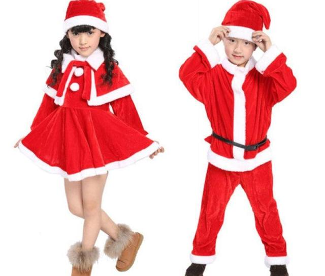 Christmas Themed Dresses For Girls Red Christmas Suit O Neck Christmas Cosplay Polyester Fibre Costume Ideas Long Sleeve For Kids From Ctoyer
