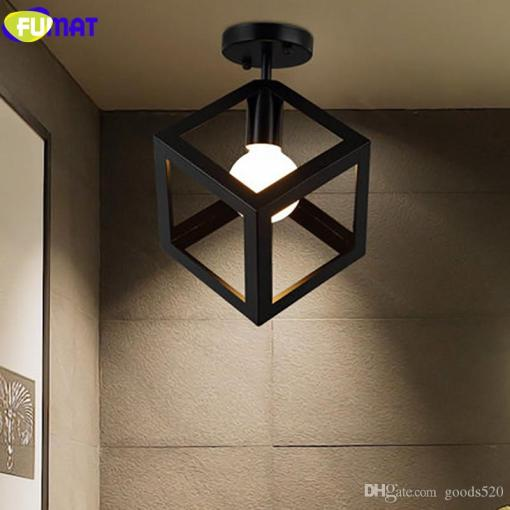 FUMAT Square Triangle Ceiling Light LED Iron Industrial Light     FUMAT Square Triangle Ceiling Light LED Iron Industrial Light Fixture  Hallway Aisle Balcony Ceiling Lamp Vintage Ceiling Light Balcony Ceiling  Lamp For